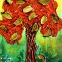 Kívánság fácska 2, Képzőművészet, Dekoráció, Napi festmény, kép, Kép, Különleges technikával készített 3D-s textil fás falikép. 18 x 24 cm méretű feszített vás..., Meska