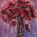 Kívánság fácska 3, Képzőművészet, Dekoráció, Napi festmény, kép, Kép, Különleges technikával készített 3D-s textil fás falikép. 18 x 24 cm méretű feszített vás..., Meska