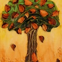 Kívánság fácska 4, Képzőművészet, Dekoráció, Napi festmény, kép, Kép, Különleges technikával készített 3D-s textil fás falikép. 18 x 24 cm méretű feszített vás..., Meska
