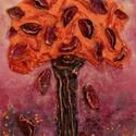 Kívánság fácska 5, Képzőművészet, Dekoráció, Napi festmény, kép, Kép, Különleges technikával készített 3D-s textil fás falikép. 18 x 24 cm méretű feszített vás..., Meska