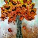 Kívánság fácska 6, Képzőművészet, Dekoráció, Napi festmény, kép, Kép, Különleges technikával készített 3D-s textil fás falikép. 18 x 24 cm méretű feszített vás..., Meska