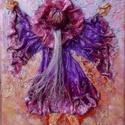 táncoló kislányka, Képzőművészet, Dekoráció, Napi festmény, kép, Kép, Különleges technikával készített 3D-s textil lányka falikép. 18 x 24 cm méretű feszített v..., Meska