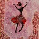 táncos lányka, Képzőművészet, Dekoráció, Napi festmény, kép, Kép, Különleges technikával készített 3D-s textil lányka falikép. 40 x 50 cm méretű feszített v..., Meska