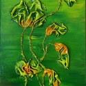 Zöld Álom, Képzőművészet, Dekoráció, Napi festmény, kép, Kép, Különleges technikával készített 3D-s textil virág falikép. 20 x 34 cm méretű farostlemezre..., Meska