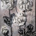 fehér rózsák, Képzőművészet, Dekoráció, Napi festmény, kép, Kép, Különleges technikával készített 3D-s textil virág falikép. 20 x 34 cm méretű farostlemezre..., Meska