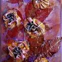Ősz aranyban, Képzőművészet, Dekoráció, Napi festmény, kép, Kép, Különleges technikával készített 3D-s textil virág falikép. 20 x 34 cm méretű farostlemezre..., Meska