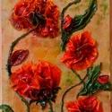 Pipacsok 6, Képzőművészet, Dekoráció, Napi festmény, kép, Kép, Különleges technikával készített 3D-s textil virág falikép. 20 x 34 cm méretű farostlemezre..., Meska