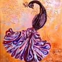 Páva, Képzőművészet, Dekoráció, Napi festmény, kép, Kép, Különleges technikával készített 3D-s textil pávás falikép. 30 x 40 cm méretű feszített v..., Meska