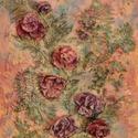 Virágok a térben, Képzőművészet, Dekoráció, Napi festmény, kép, Kép, Újrahasznosított alapanyagból készült termékek, Szobrászat, Különleges technikával készített 3D-s textil virág falikép. 40 x 50 cm méretű feszített vászonra ké..., Meska