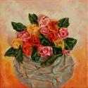 Rózsák vázában, Képzőművészet, Dekoráció, Napi festmény, kép, Kép, Újrahasznosított alapanyagból készült termékek, Szobrászat, Különleges technikával készített 3D-s textil virág falikép. 21 x 21 cm méretű feszített vászonra ké..., Meska