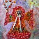 táncoló kislány, Képzőművészet, Dekoráció, Napi festmény, kép, Kép, Újrahasznosított alapanyagból készült termékek, Szobrászat, Különleges technikával készített 3D-s textil lányka falikép. 33 x 46 cm méretű feszített vászonra k..., Meska