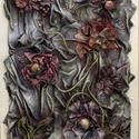 Térvirágok, Képzőművészet, Dekoráció, Napi festmény, kép, Kép, Újrahasznosított alapanyagból készült termékek, Szobrászat, Különleges technikával készített 3D-s textil virág falikép. 40 x 60 cm méretű farostlemezre készült..., Meska