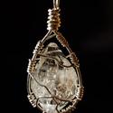 Tibeti kvarc kristály medál, Ékszer, óra, Medál, Ékszerkészítés, Természetes/ nyers tibeti kvarc medál ezüstözött ékszerdróttal  ásvány mérete: 3 x 2 cm medál méret..., Meska