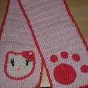 Horgolt baba sál (Hello Kitty), Ruha, divat, cipő, Kendő, sál, sapka, kesztyű, Sál, Horgolás, Egyedi, kézzel horgolt baba sál.  Anyaga: 100% pamut fonalból Színe: halvány rózsaszín, szélei pink..., Meska