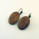 Ligna fülbevaló, Uszadékfából készült, ovális alakú fülbeva...