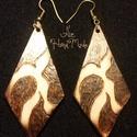 Égetett fa fülbevaló 1, Ékszer, Fülbevaló, Kézzel készített egyedi , különleges égetett fa fülbevaló. Anyaga fém és rétegelt nyír f..., Meska
