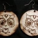 Égetett fa fülbevaló 7, Ékszer, Fülbevaló, Kézzel készített egyedi , különleges égetett fa fülbevaló bagoly díszítéssel. Anyaga fém..., Meska