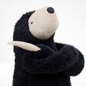 Kis fekete plüss Lajhár, Játék, Plüssállat, rongyjáték, Baba-és bábkészítés, Varrás, Ez a lajhár a dzsungel leglassabb, de egyben legkedvesebb állata. Mindig vidám és ölelésre kész. Se..., Meska