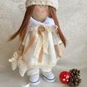 Karácsonyi Angyal baba , Baba-mama-gyerek, Dekoráció, Játék, Baba, babaház, Karacsonyi angyal baba, lenvászon, pamut anyagból készült, az arca kézzel festett. A baba kezé..., Meska