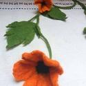 Nemez virágfüzér levelekkel, Ékszer, óra, Dekoráció, Nyaklánc, Dísz, Nemezelés, Egyedi, saját tervezésű hagyományos nemezelő technikával készült virágfüzér, üde narancs színű virá..., Meska