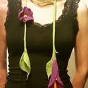 Lila virágos nemez nyaklánc, Ékszer, Nyaklánc, Egyedi tervezésű, hagyományos nemezelési technikával készült, különleges nyaklánc, lila vi..., Meska