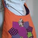 Napsugár színó, virágos patchwork válltáska, tatyó, retró, Táska, Tarisznya, Válltáska, oldaltáska, Szatyor, Varrás, Patchwork, foltvarrás, Ezt a táskát elősször egy hordozós anyukának készítettem el, de utána többen rendelték évzáróra is ..., Meska