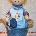 textil baba, Baba-mama-gyerek, Játék, Baba, babaház, Plüssállat, rongyjáték, Baba-és bábkészítés, Öcsi 36 cm magas fiúcska,öltöztethető, keze-lába mozog. Ruhája pamutvászonból készült, arca méhvias..., Meska