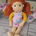 waldorf jellegű baba, baba, rongybaba, játékbaba, , Játék & Gyerek, Baba & babaház, Öltöztethető baba, Baba-és bábkészítés, 40 cm-es waldorf jellegű baba. Babatest anyagból készült, gyapjúval kitömött, arca hímzett, haja sz..., Meska
