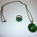 LEFOGLALVA Gabinak-Smaragd álom ékszerszett, Smaragd álom- kézzel festett, üveglencsés bron...