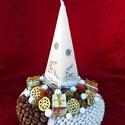 Karácsonyi gyertyás asztaldísz, Dekoráció, Dísz, Karácsonyi, adventi apróságok, Karácsonyi dekoráció, Szalma alapot egyik részben fekete, másik részben fehér szalaggal tekertem körbe. A fehér rés..., Meska