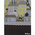 Párizsi macskák napló/emlékkönyv, Naptár, képeslap, album, Jegyzetfüzet, napló, Kemény kötésű, kb. 100 vonalas lapot tartalmazó napló/emlékkönyv.  Pöttyös és macskás mintájú patchw..., Meska