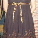 Ruha bordűrös anyagból, Ruha, divat, cipő, Kismamaruha, Női ruha, Ruha, Varrás, Kb. 2 éve varrtam magamnak a képen látható barna ruhát. Sajnos akkor csak erre az egy darabra volt ..., Meska