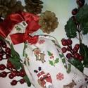 Mikulás zsák, vagy ajándék tasak, Karácsonyi mintás, igen jó minőségű vászonb...