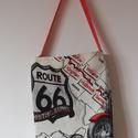 """""""Route 66"""" táska, Táska, Szatyor, Válltáska, oldaltáska, Amerikai utak emlékére...  Mintája, mérete és színe miatt férfiaknak is remek ajándék. Nyom..., Meska"""