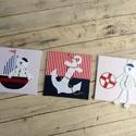 FALIKÉPEK babaszobába, tengerész, KÉSZTERMÉK, Baba-mama-gyerek, Baba-mama kellék, Gyerekszoba, Baba falikép, Varrás, A közkedvelt Bear&Bunny sorozat figurái tengerre szálltak :-)  3 db-os falikép garnitúra gyerekszob..., Meska