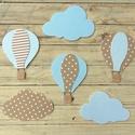 Hőlégballonok és felhőcskék, 6 db, polisztirol faldekoráció, Baba-mama-gyerek, Baba-mama kellék, Gyerekszoba, Baba falikép, Hőlégballon és felhő formájú faldekoráció szett gyerekszobába.  Méret: felhő 20 cm széles, hőlégball..., Meska