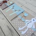 FALIKÉPEK babaszobába, kék-barna-menta, Baba-mama-gyerek, Baba-mama kellék, Gyerekszoba, Baba falikép, Kedves, vidám és egyedi faliképek babaszobába, a Bear&Bunny sorozat maci és nyuszi figurájával díszí..., Meska