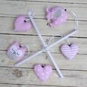 Zenélő babaforgó, körforgó, baba mobil, rózsaszín-szürke, Baba-mama-gyerek, Gyerekszoba, Baba-mama kellék, Varrás, Egyedi zenélő babaforgó bagollyal, elefánttal, szívekkel, rózsaszín-szürke színvilágban.  Az ár tar..., Meska