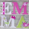 BETŰ, babanév felirat, polisztirol betű, 4 betűs, Baba-mama-gyerek, Baba-mama kellék, Gyerekszoba, Baba falikép, Egyedileg díszített polisztirol habbetűk, melyből tetszőleges név feliratot készítünk gyerekszobába,..., Meska