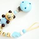 Cumilánc - kék/fehér - 3D macival, Baba-mama-gyerek, Baba-mama kellék, Gyöngyfűzés, Cumilánc névvel, bababarát, fa alapanyagokból. Kiváló ajándék lehet babalátogatóba, keresztelőre, d..., Meska