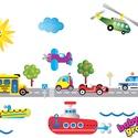 Járművek hajóval áthelyezhető falmatrica szett, Baba-mama-gyerek, Dekoráció, Gyerekszoba, Falmatrica, Fotó, grafika, rajz, illusztráció, Most már ÁTLÁTSZÓ vinilen is kapható!  Járművek hajóval áthelyezhető falmatrica szett  A legtöbb ki..., Meska