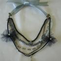 Szürke elegancia, Ékszer, Nyaklánc, Fekete, szürke gyöngyökből és kiegészítőkből készült nyaklánc selyem szalaggal, ezüst színű hollandp..., Meska