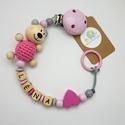 Cumilánc névvel, 3D állatfigurával - fából , Baba-mama-gyerek, Baba-mama kellék, Cumilánc 3D motívummal Modell: Zilu a kismedve 3D, szürke - babarózsaszín - natúr - pink Kérlek vásá..., Meska