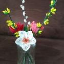 Tavaszi virágcsokor gyöngyből , A kis tavaszi csokrot drót és 2 mm-es kásagyön...