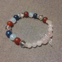 Ásványkarkötő (lapis lazuli, vörös achát, hegyikristály, holdkő, rózsakvarc)