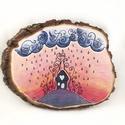 """""""Eső"""" festett fakorong, Otthon & lakás, Dekoráció, Lakberendezés, Festett tárgyak, """"Eső"""" névre kereszteltem ezt a 30x23 cm-es, kézzel festett fakorongot. Akrilfestéket és akriltollat..., Meska"""