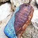 """""""Duna"""" medál, Ékszer, Medál, Nyaklánc, Festett tárgyak, Egyedi, különleges és megismételhetetlen... Ez a medál egy 8,5*4 cm-es uszadékfából készült. A Duna..., Meska"""