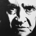 Johnny Cash akril festmény, Képzőművészet, Festmény, Akril, Festészet, Fekete-fehér akril festmény a country királyáról. A kép kasírozott festővászonra készült 40x30cm-as..., Meska