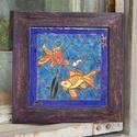 tűzzománc kép , Dekoráció, Képzőművészet, Kép, Tűzzománc, Keleti stílusban készült tűzzománc kép  Mérete kerettel együtt : 21cm x 21 cm , Meska