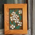 Tűzzománc kép , Dekoráció, Képzőművészet, Kép, Tűzzománc, Tűzzománc virágok különleges fa keretben  A kép mérete kerettel együtt: 14,4 cm x 20 cm , Meska